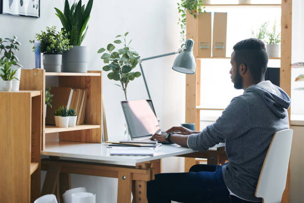 Remote work Casual young mixed-race businessman looking at laptop display while sitting on chair by desk and concentrating on remote work desolation stock pictures, royalty-free photos & images