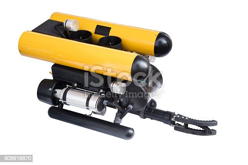 Modern remotely operated underwater vehicle (ROV) isolated on white background