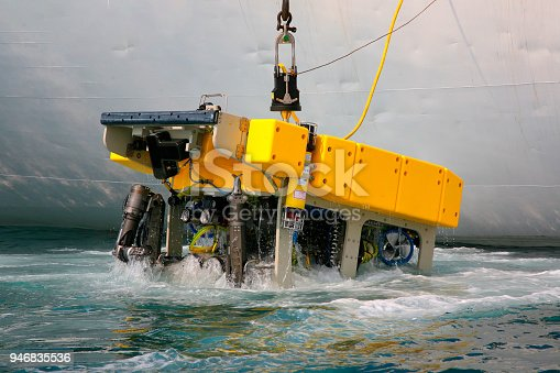 Scientific deep-sea expedition on board of Research Vessel with remotely operated underwater vehicle (ROV)