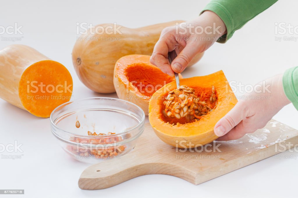 removal of healthy pumpkin seed stock photo