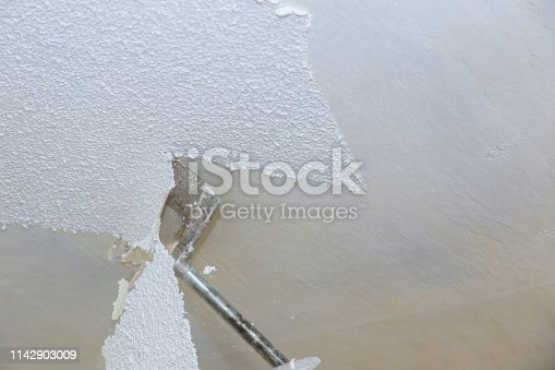 Removal old dirty popcorn ceiling wall interiors home remodeling