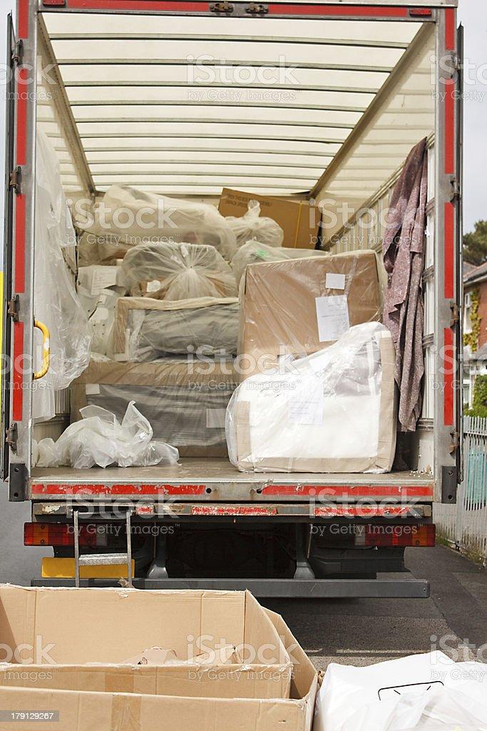 removals van or truck stock photo