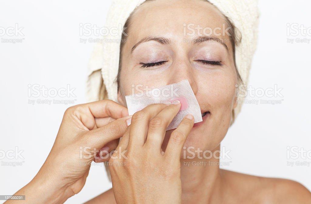 Remove facial hair royalty-free stock photo