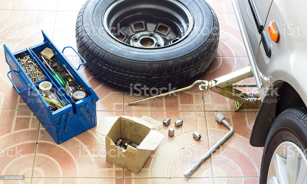 Remove, Install, replace Wheel tire nut stock photo