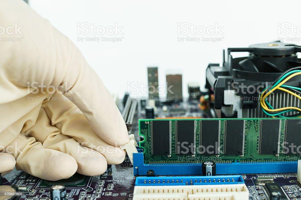 remove RAM from socket stock photo