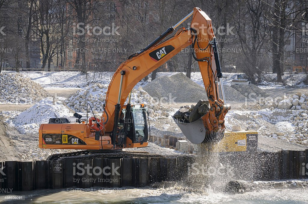 Removing Rocks from River royalty-free stock photo