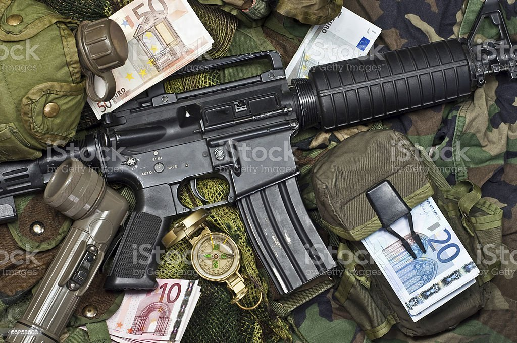 remuneration soldier of fortune stock photo
