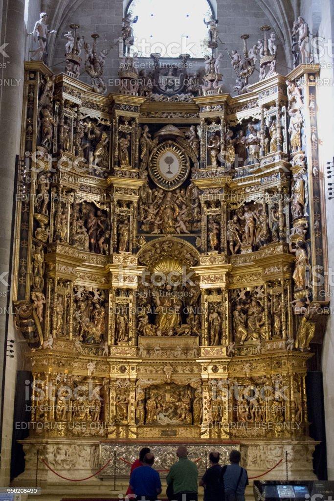 Renaissance altarpiece inside the cathedral of Santo Domingo de la Calzada stock photo