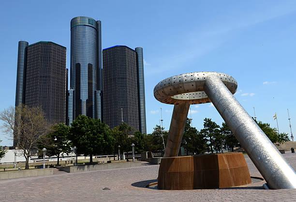 Renaissance Center and Hart Plaza, Detroit stock photo