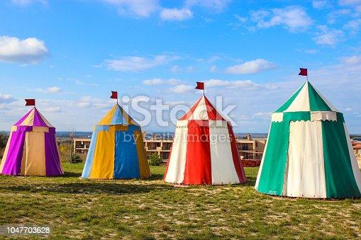 Colorful medival tents on a Renaissance fair.