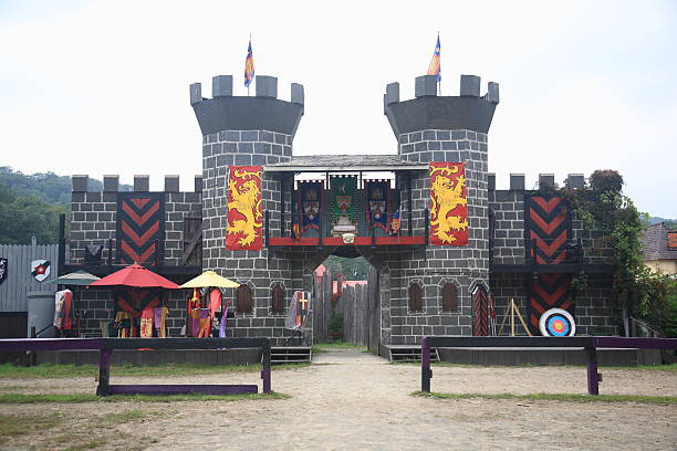 renaissance faire joust field - renaissance stock pictures, royalty-free photos & images