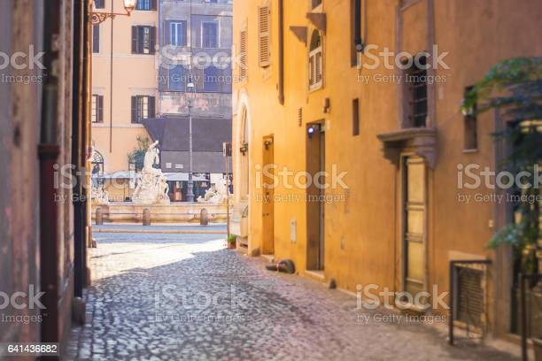 Renaissance street leading to Piazza Navona in Rome