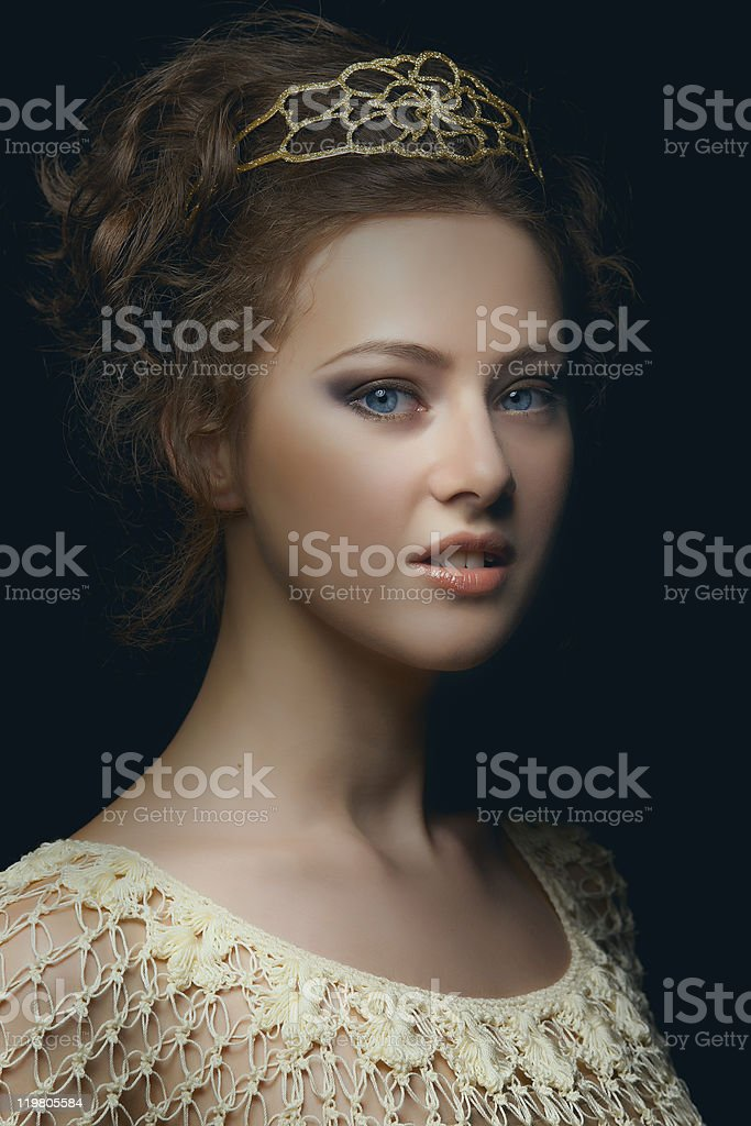 A Renaissance themed portrait of a pretty young woman stock photo