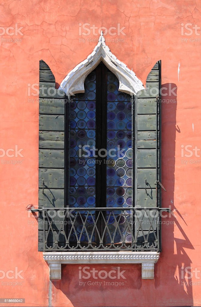 Renaissance window in Venice stock photo