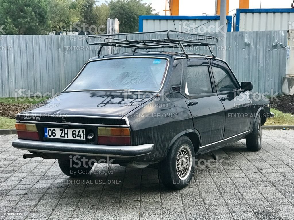 Renault 12 gts old car parking in the street stock photo