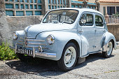Renault 4CV light blue old-timer economy car