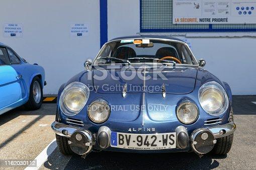 DIEPPE, FRANCE - JUNE 30, 2018: Renault Alpine car blue modele 110 Berlinette V85 on the exposition Vintage and classic Cars.