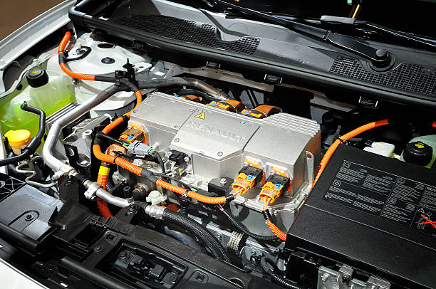 Renault Fluence engine Amsterdam, The Netherlands - April 12, 2011: Renault Fluence electric engine on display during the AutoRAI motor show April 12 - 23, 2011 in Amsterdam, The Netherlands. hybrid car stock pictures, royalty-free photos & images