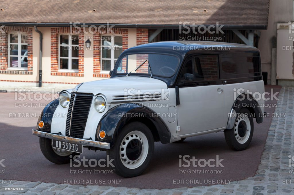 Renault Juvafour van Epernay, France - July 23 2020: The Renault Juvaquatre is an automobile of the French car manufacturer Renault, marketed between 1937 and 1960. This version is the van used by many craftsmen of that time. Car Stock Photo