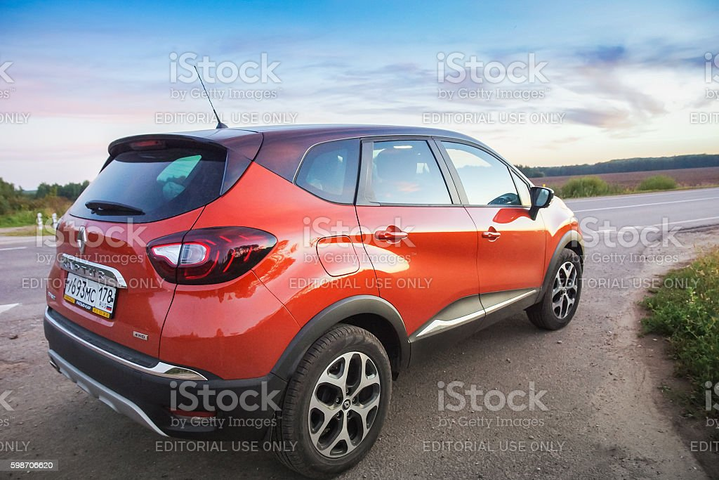 Renault Kaptur on highway stock photo