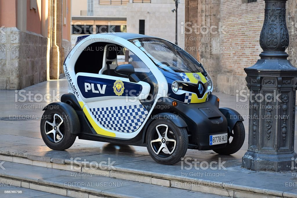 Renault Twizy Police Car On The Street Stock Fotografie Und Mehr