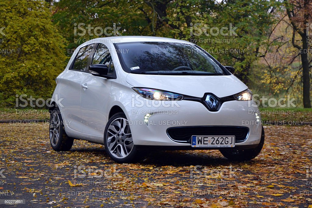 Renault Zoe - electric car at the test drive stock photo
