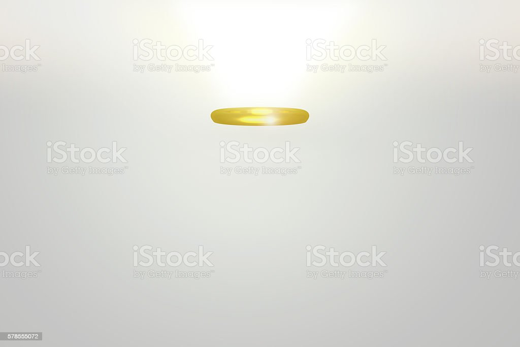 3D rendeinr of golden angel halo stock photo