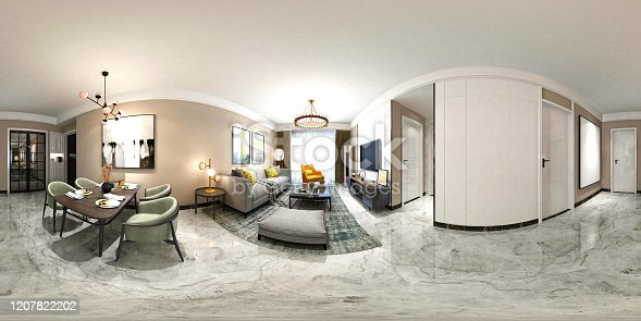 3D Render 360 Degrees Modern Living Room, House Interior.