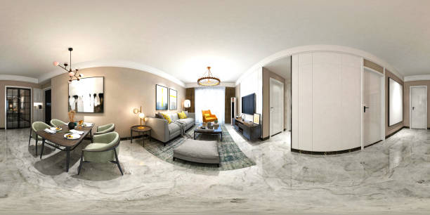 3D Render 360 Degrees Modern Living Room 3D Render 360 Degrees Modern Living Room, House Interior. 360 degree view stock pictures, royalty-free photos & images
