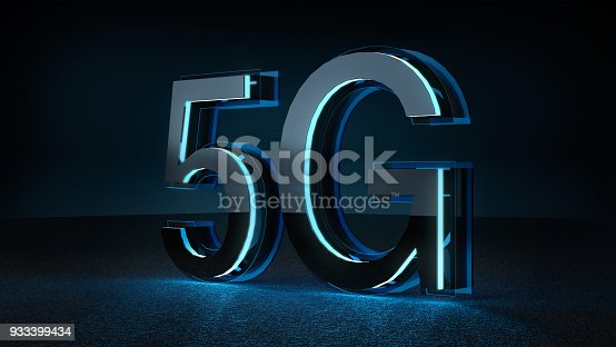 istock 3D Render 5G futuristic font with blue neon light . 933399434