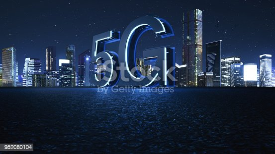 istock 3D Render 5G futuristic font with blue neon light 952080104