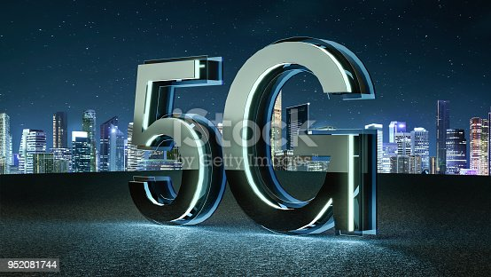 istock 3D Render 5G futuristic font with blue neon light 952081744
