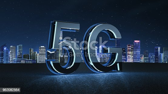 istock 3D Render 5G futuristic font with blue neon light 952082554