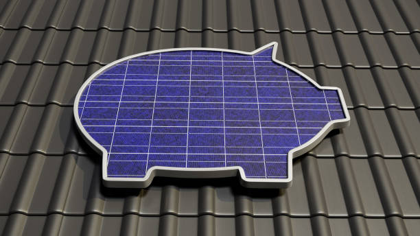 3D render: A solar panel in the form of a piggybank on a roof. Concept for saving money with your own solar energy plant. stock photo