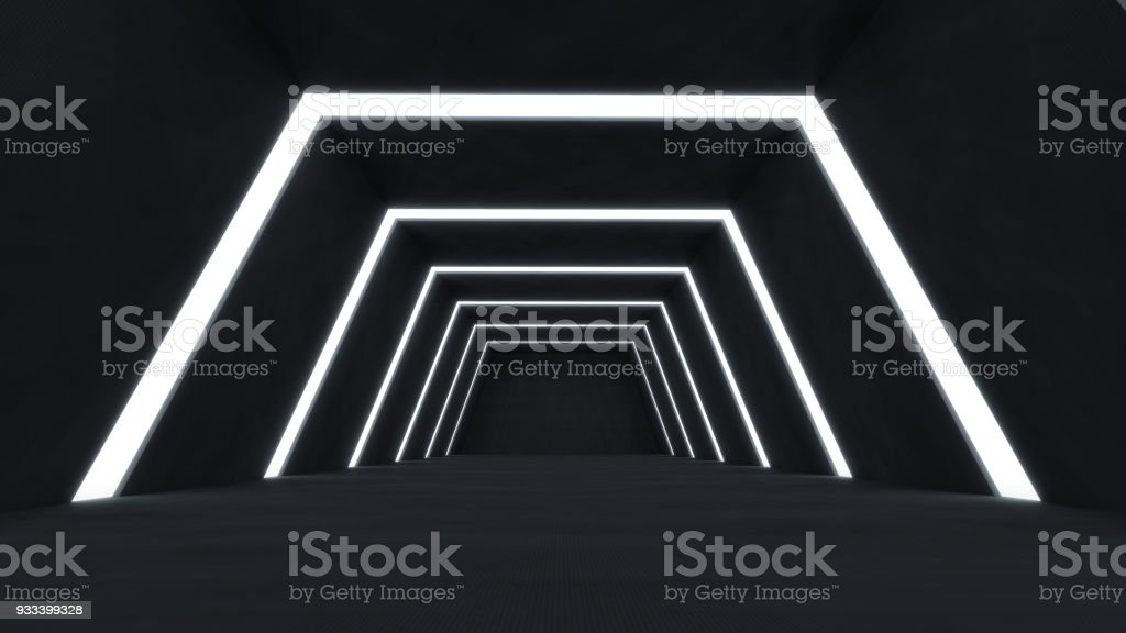 3D Render abstract and futuristic dark room stock photo