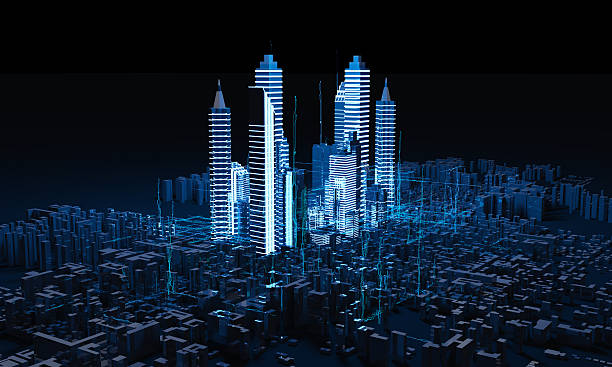 Render Abstract city stock photo