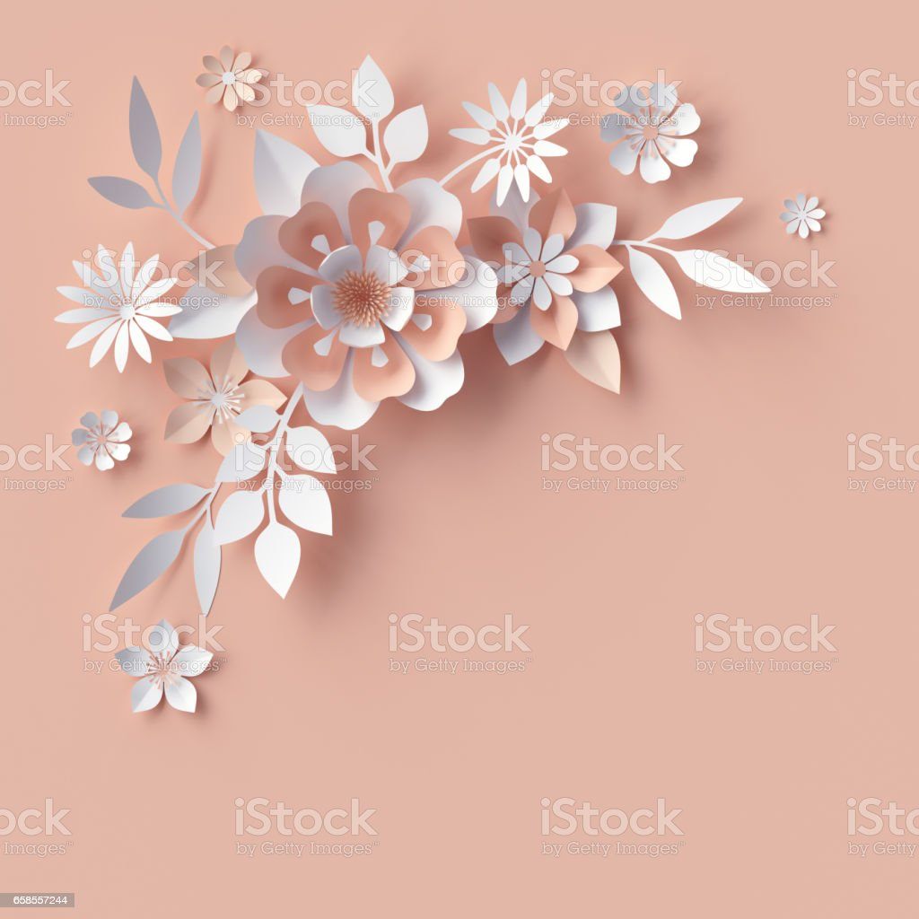Render Abstract Paper Flowers Decorative Corner Peachy Rose Pink