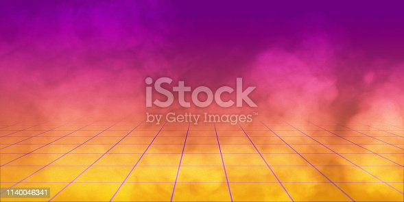 istock 3D Render, background retro 1980 , yellow and purple gradient whit grid and smoke. 1140046341