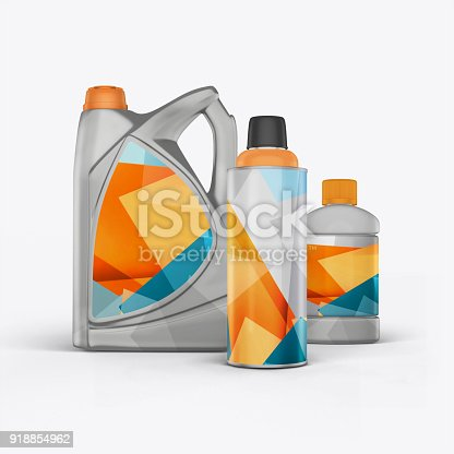 istock 3D render cans of motor oil on a white background 918854962