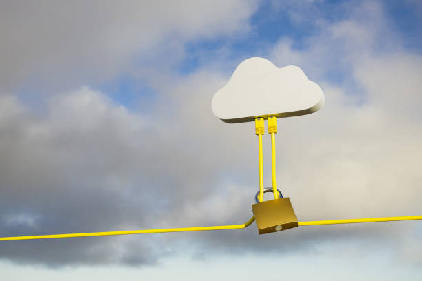3D render: Cloud Computing Security Concept - Two Ethernet Cables plugged into a symbolic cloud. A lock around the cables. Cloudscape background. stock photo