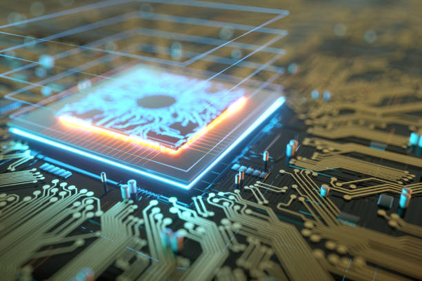 3D render CPU Technological background. Concept circuit board with computer central processing unit. Digital Chip Integrated Communication Processor. Copy space. 3D render CPU Technological background. Concept circuit board with computer central processing unit. Digital Chip Integrated Communication Processor. Copy space computer chip stock pictures, royalty-free photos & images