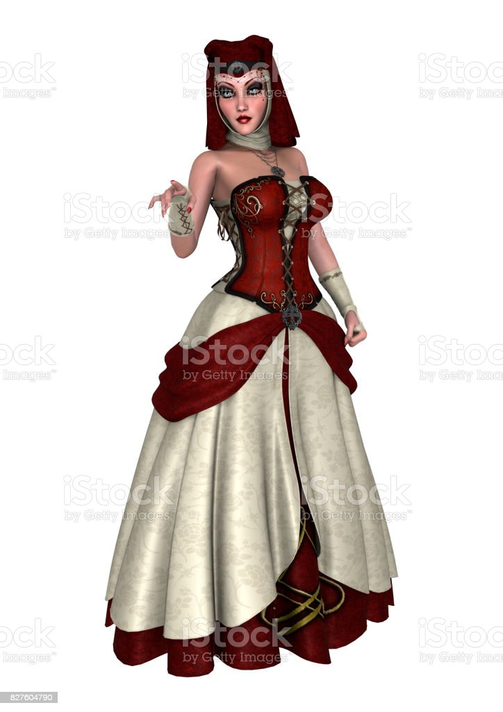 3D Render Fantasy Female Wizard isolated on white stock photo