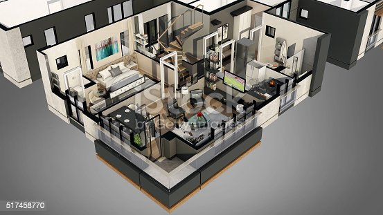 istock 3D render for home floor plan from top 517458770