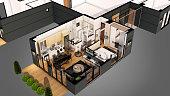 3D render for home floor plan from top