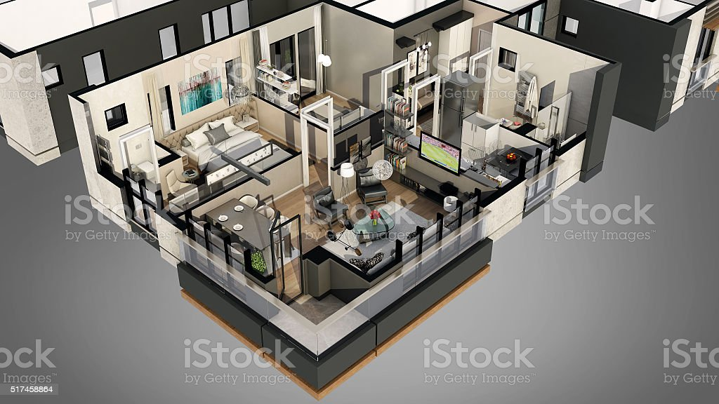 3D render for home floor plan from top stock photo