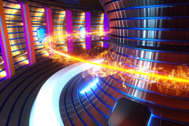3d render fusion reactor nuclear fusion, tokamak inside heated plasma, toroidal shape, clean energy. copy space - reattore nucleare foto e immagini stock