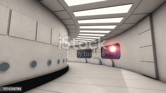 830306120 istock photo 3D render. Futuristic empty interior corridor 1014245784