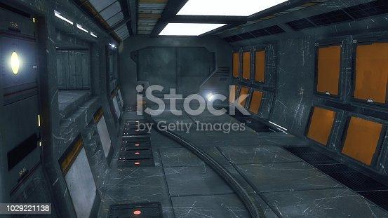 830306120 istock photo 3D render. Futuristic empty interior corridor 1029221138