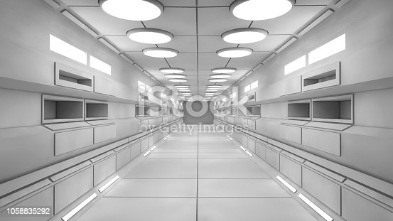 830306120 istock photo 3D render. Futuristic empty interior corridor 1058835292