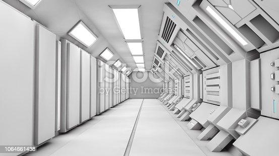 830306120 istock photo 3D render. Futuristic empty interior corridor 1064661438